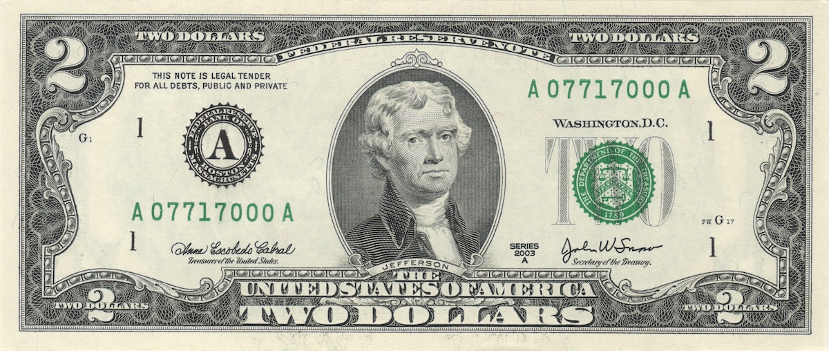 Lucky two dollars bill.