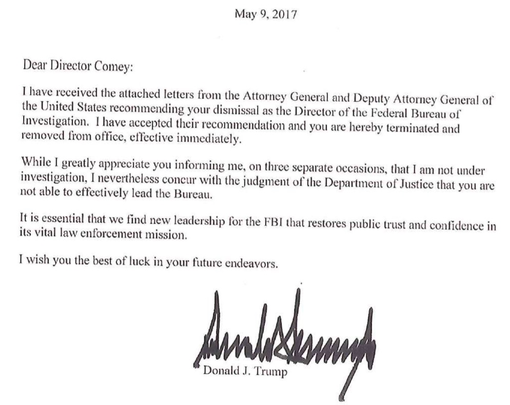 Trump's letter dismissing Comey - AP Photo/Jon Elswick